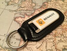 RENAULT PRINTED Quality Black Real Leather Keyring CLIO SCENIC TWINGO KADJAR