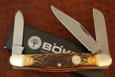 H. BOKER CO TREE BRAND SOLINGEN GERMANY TOASTED INDIA STAG STOCKMAN KNIFE (4264)