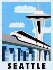 TOURISM SEATTLE WASHINGTON USA MONORAIL SPACE NEEDLE ART POSTER PRINT CC6944