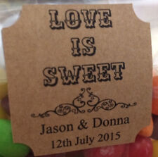 20 x Personalised Kraft Stickers Wedding Engagement Favour Labels Love Is Sweet