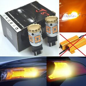 Canbus Error Free LED Light 3157 Amber Two Bulbs Front Turn Signal Replace A