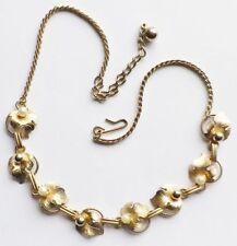 collier bijou vintage feuille finement gravé doré or fin perles fines * 3314