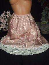 "Vtg Satin pINK Shiny Wide Lace Half Slip Petticoat Sleek DEENA Lingerie XL 46"""