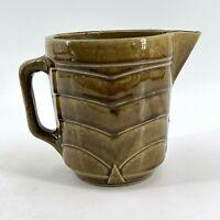 Vintage Brown Glaze Pottery Ceramic Creamer Syrup Honey Pitcher Chevron Pattern