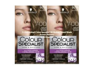 2 x Schwarzkopf Colour Specialist 7.00 Medium Natural Blonde 90% Less Breakage