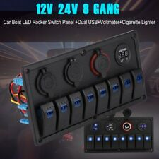 8 Gang Car Marine Boat Rocker SWITCH Panel Circuit Breaker Voltmeter 24V