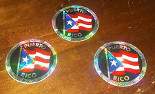3 Older Prism Stickers Circular - Puerto Rico Flag