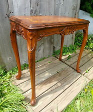 Vintage French Carved Floral Marquetry Inlay End Side Accent Table