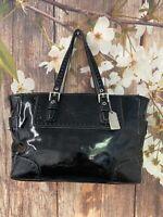 Coach Patent Leather Black Embossed Handbag Purse 1432