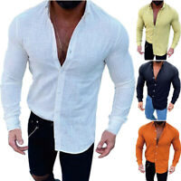 Mens Summer Button Down T Shirt Tops Muscle Long Sleeve Slim Tee Shirts Formal