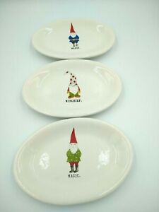 Rae Dunn Magenta Gnome Oval Plates (3) Christmas Candy Dish Merry Magic Mischief