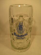 Glas Bierkrug Brauerei Bischoffbräu Münchberg alt 1 Liter