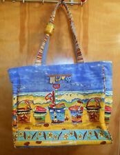 Sun n Sand large canvas beach bag tote zippered made in India sand beach toys