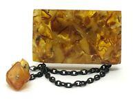 Vintage AMBER BROOCH Old Antique Pressed Natural Baltic Amber Beads 16,1g 9746