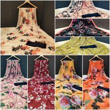 Designer Indian Bollywood Soft Chiffon Saree Pakistani Digital Floral Print Sari