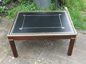 Regency Style Leather Top Mahogany Brass Banded Coffee Table