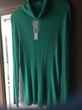 NWT Alex Marie Sea Green Mia Sweater Turtleneck Ribbed 100% Cashmere Blend SZ XL