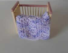 HAND KNIT MINIATURE DOLLHOUSE DOLL BABY BLANKET WHITE PURPLE