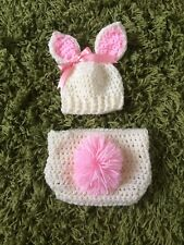 Handmade Crochet Baby Bunny Outfit Newborn Photography Photo Props Easter Shower