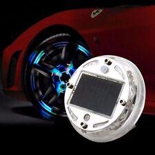 2pcs Solar Power LED Flash Car Tyre Rim Wheel Centre Hub Cap Light Neon Cover UK