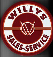 PLAQUE METAL vintage USA logo WILLYS SALES SERVICE - 30 CM