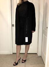 New Zara Basic Black Trench Wool Front Zip Jacket Coat - Retail $100 / Size XS