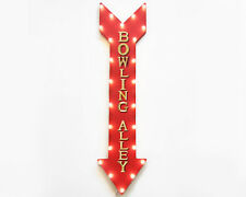 """48"""" BOWLING ALLEY Bowling Pins LED Rustic Metal Arrow Marquee Light Up Sign"""