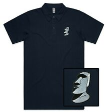 Funny Cool Stone Moai Embroidered Polo Shirt Polo T-shirt