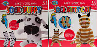 Set Of 2 Make Your Own Sock Puppy And Kitten - Craft Toy