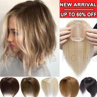 US 100% Virgin Human Hair Topper Hairpiece For Women Blonde Clip In Silk Base HG