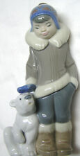 Lladro Eskimo Boy With Pet Cub Figurine 5238 by Jean Huerta 1984 Brillo Retired