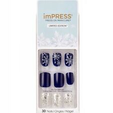 NEW Kiss Nails Impress Press On Manicure Short Gel Dark Blue Snowflake Christmas