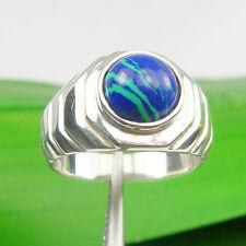Round 8mm Azurite Gemstone Unisex Bezel Ring, Genuine 925 Sterling Silver - R427