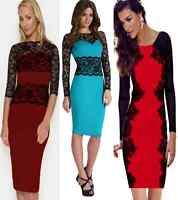 Ladies Womens Long Sleeve Sexy Lace Bodycon Evening Party Cocktail Dress