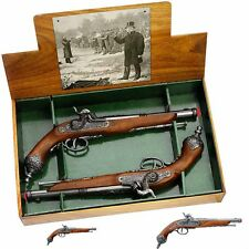 Authentic Colonial Italian Dueling Flintlock Pistols Non-Firing Guns Gift Set