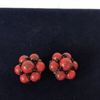 West Germany Signed Vintage 1950s Red Black Plastic Bead Clip On Earrings