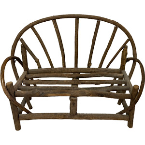 """Doll Farmhouse Bench Made of Tree Limbs Wooden Bench 9"""" X 8"""" 4"""""""
