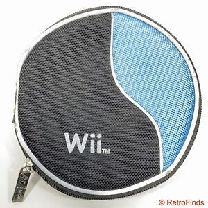 Nintendo Wii CD/Disc Carrying Case w/ Zipper Holds 12 Discs Blue Black