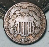 1864 Two Cent Piece 2C Ungraded Choice Civil War Date Good US Copper Coin CC5779