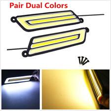 2PCS COB Flexible DRL Dual Colors Car LED Fog Lamp Daytime Running Light DC 12V
