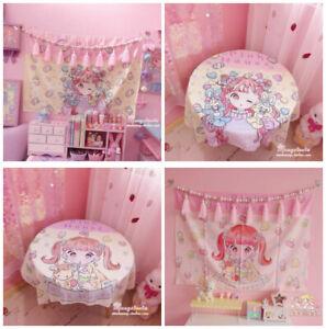 Anime Sakura Pink Kawaii Wall Decor for Bedroom Hanging Tapestry Tablecloth