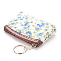Lady Mini Pastoral Canvas Flower Card Makeup Holder Coin Bag Wallet Purse JX