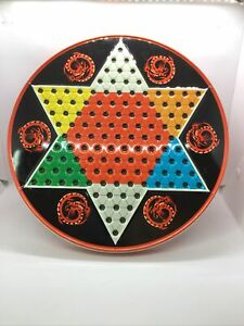 Vintage Chinese Checkers Tin W/ Reverse Side King Row Checkerboard,  Ohio Art Co