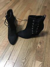Forever 21 Lace Up Wedge Ankle Booties Boots Black Women's 6