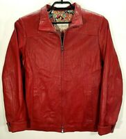 Bottega Fiorentina Leather Jacket Womens XL Soft Red Coat Made in Florence Italy