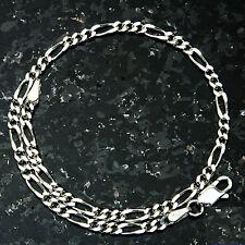 "Figaro 100-8"" 4mm 4.5 Gram Italian Link .925 Sterling Silver Bracelet 8"""