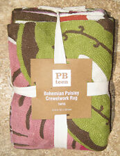 POTTERY BARN ~BOHEMIAN PAISLEY CREWELWORK 3' x 5' AREA RUG ~BRAND NEW WARM COLOR