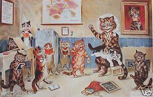 LOUIS WAIN CAT PRINT CATS AT SCHOOL CLASSROOM TEACHING KITTEN SINGING TEACHER