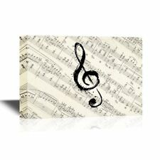 wall26 - Canvas Wall Art - Music Note on Vintage Musical Score Paper - 12x18