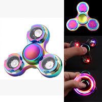 Rainbow LED EDC Fidget Spinner Hand Pocket Finger Kreisel Anti Stress ADHS DE